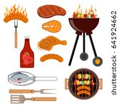 vector set of barbecue grill... | Shutterstock .eps vector #641924662