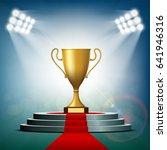 gold cup winner standing on a... | Shutterstock .eps vector #641946316