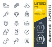 lineo editable stroke   camping ... | Shutterstock .eps vector #641959996