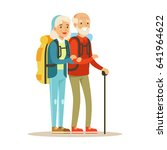 senior couple tourists... | Shutterstock .eps vector #641964622