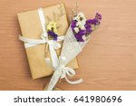 above brown gift box white... | Shutterstock . vector #641980696
