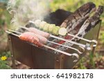 grilled vegetables and sausages ... | Shutterstock . vector #641982178