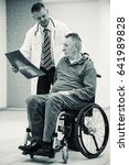 handicap senior man and doctor... | Shutterstock . vector #641989828