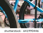 close up bicycle wheel and... | Shutterstock . vector #641990446