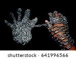 Small photo of Hand with CHAIN,chain in hand,the chain wound on the hand,dirty hands,black background