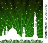 background with a mosque and a... | Shutterstock .eps vector #642010642