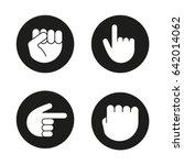hand gestures glyph icons set.... | Shutterstock .eps vector #642014062