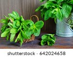 green fresh mint on the wooden... | Shutterstock . vector #642024658