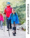 happy hiking boy with trekking... | Shutterstock . vector #642030316