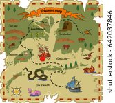 treasure map with different... | Shutterstock .eps vector #642037846