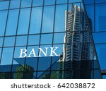 bank sign on glass blue wall of ... | Shutterstock . vector #642038872