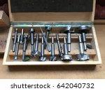 old wood box with drills.... | Shutterstock . vector #642040732