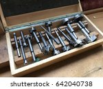 old wood box with drills.... | Shutterstock . vector #642040738