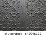 Detail Of Medieval Black Door...
