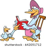 Cartoon Mother Goose Reading...