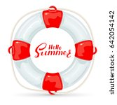 lifebuoy with rope and... | Shutterstock .eps vector #642054142