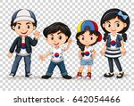 boys and girls from south korea ... | Shutterstock .eps vector #642054466