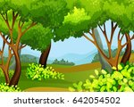 forest scene with tall trees... | Shutterstock .eps vector #642054502