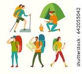 cartoon travelers set with... | Shutterstock .eps vector #642055042