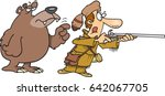 cartoon man hunting and a bear... | Shutterstock .eps vector #642067705