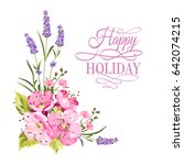 botanical flowers garland. the... | Shutterstock .eps vector #642074215