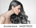 girl long and shiny wavy hair . ... | Shutterstock . vector #642075025