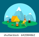 flat camping concept with tent... | Shutterstock .eps vector #642084862