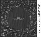 hand drawn doodle beach set... | Shutterstock .eps vector #642089386