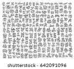 mega set of 200 black and white ... | Shutterstock .eps vector #642091096