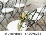 forged chairs with floral... | Shutterstock . vector #642096286