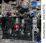 Small photo of The car engine, engine compartment, Car Engine background, A fragment of the engine,Engine piston