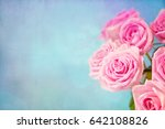 roses on a blue background  | Shutterstock . vector #642108826