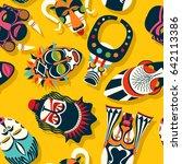tribal mask background ... | Shutterstock .eps vector #642113386