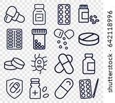 pill icons set. set of 16 pill... | Shutterstock .eps vector #642118996