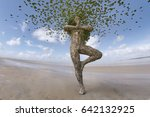 a tree man  leafs and yoga  3d... | Shutterstock . vector #642132925