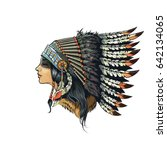 american indian girl in... | Shutterstock . vector #642134065