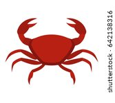 red crab icon flat isolated on... | Shutterstock . vector #642138316