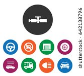 set of 9 car filled icons such...