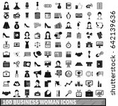 100 business woman icons set in ... | Shutterstock . vector #642139636
