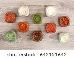 selection of homemade sauces... | Shutterstock . vector #642151642
