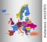 map of europe. vector... | Shutterstock .eps vector #642157072