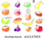 hand drawn watercolor stains... | Shutterstock .eps vector #642157855