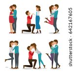 cute couple set design | Shutterstock .eps vector #642167605