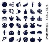vegetarian icons set. set of 36 ... | Shutterstock .eps vector #642174376