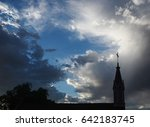 sunset view of church steeple... | Shutterstock . vector #642183745