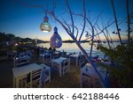 informal beachside seating with ... | Shutterstock . vector #642188446