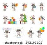 set of cartoon raccoon... | Shutterstock .eps vector #642193102