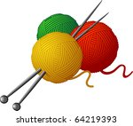 skeins of wool and knitting... | Shutterstock .eps vector #64219393