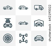 automobile outline icons set.... | Shutterstock .eps vector #642195022