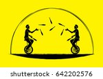 men juggling pins while cycling ... | Shutterstock .eps vector #642202576